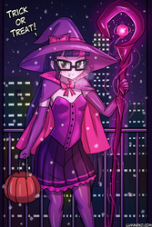 Size: 750x1125 | Tagged: safe, artist:lumineko, sci-twi, twilight sparkle, equestria girls, city, clothes, cute, evening gloves, female, glasses, gloves, halloween, hat, holiday, long gloves, miniskirt, moe, night, pantyhose, pleated skirt, scepter, skirt, smiling, solo, stars, trick or treat, twiabetes, witch hat