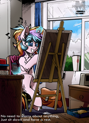 Size: 2225x3061 | Tagged: artist:movieskywalker, bag, book, cellphone, chair, clock, clothes, curtains, desk, drawing, earbuds, eraser, fluffy, magic, milk tea, music, oc, oc only, oc:oofy colorful, phone, pony, safe, scarf, sky, smiley face, unicorn, window