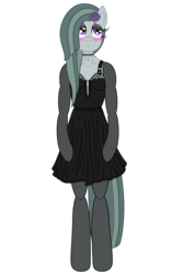 Size: 3200x4800 | Tagged: alternate version, anthro, arm hooves, artist:fascismnotincluded, blushing, choker, clothes, dress, evening gloves, eyeshadow, flower, flower in hair, gloves, high res, long gloves, makeup, marble pie, safe, simple background, solo, stockings, thigh highs, transparent background, unguligrade anthro, vector
