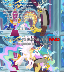 Size: 2000x2246 | Tagged: safe, edit, edited screencap, screencap, discord, princess celestia, princess luna, twilight sparkle, alicorn, the ending of the end, angry, canterlot castle, canterlot throne room, caption, discord drama, good intentions, good intentions gone wrong, image macro, meme, scared, stained glass, tartarus, text, throne, twilight sparkle (alicorn)