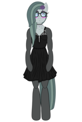 Size: 3200x4800 | Tagged: alternate version, anthro, arm hooves, artist:fascismnotincluded, blushing, choker, clothes, dress, evening gloves, eyeshadow, flower, flower in hair, glasses, gloves, high res, long gloves, makeup, marble pie, safe, simple background, socks, solo, stockings, thigh highs, transparent background, unguligrade anthro, vector
