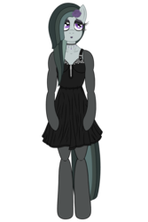 Size: 3200x4800 | Tagged: alternate hairstyle, alternate version, anthro, arm hooves, artist:fascismnotincluded, choker, clothes, dress, evening gloves, eyeshadow, flower, flower in hair, gloves, goth, high res, lipstick, long gloves, makeup, marble pie, safe, simple background, socks, solo, stockings, thigh highs, transparent background, unguligrade anthro, vector