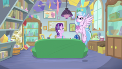 Size: 1920x1080 | Tagged: book, bookshelf, couch, geode, inkwell, kite, quill, safe, screencap, scroll, silverstream, spoiler:s09e11, starlight glimmer, starlight's office, student counsel