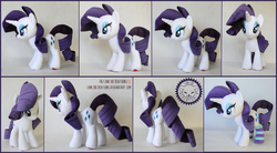 Size: 2500x1375 | Tagged: artist:lioncubcreations, clothes, commission, photo, plush commission, plushie, pony, rarity, safe, socks, solo, striped socks, unicorn