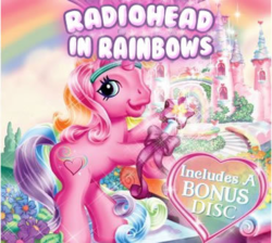 Size: 371x332 | Tagged: album cover, g3, in rainbows, parody, radiohead, rarity (g3), safe, the runaway rainbow