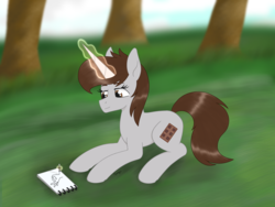 Size: 2608x1961 | Tagged: artist:dyonys, commission, drawing, female, hand, magic, mare, oc, oc:dorm pony, oc only, pen, pony, prone, safe, sketch book, smiling, solo, tree, unicorn