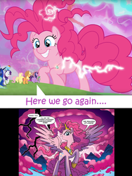 Size: 1485x1979 | Tagged: alicorn, alicornified, applejack, chaos, chaos magic, chaos pinkie, cloud, comic, crazy face, crown, discord's dimension, earth pony, edit, edited screencap, editor:leonidus, evil grin, faic, female, fluttershy, giant pony, grin, grogar's bell, here we go again, idw, jewelry, lightning, macro, magic, mane six, pegasus, pinkiecorn, pinkie pie, pony, princess celestia, princess luna, princess of chaos, race swap, rainbow dash, rarity, regalia, safe, screencap, screencap comic, smiling, speech bubble, spike, spoiler:comic, spoiler:comic57, spoiler:s09e26, text, the last problem, twilight sparkle, twilight sparkle (alicorn), xk-class end-of-the-world scenario