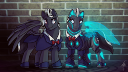 Size: 1600x900 | Tagged: artist:lessanamidairo, cuffs (clothes), cyborg, male, oc, pegasus, pony, safe, stallion
