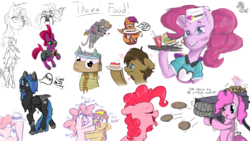 Size: 1920x1080 | Tagged: safe, artist:allyclaw, artist:fluffyxai, artist:huffylime, artist:jennithedragon, artist:laptopdj, artist:littlepony115, artist:m3g4p0n1, pinkie pie, scootaloo, sunset shimmer, tempest shadow, oc, oc:solar eclipse, oc:spirit wind, anthro, cake pony, food pony, mouse, original species, pony, anthro oc, burger, cake, cookie, cup, drawpile, drawpile disasters, eating, food, jetpack, kfc, mlpds, ponified, pony oc, rocket launcher, straw, waitress