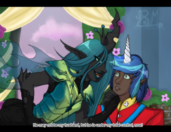 Size: 3546x2736 | Tagged: safe, artist:britishmindslave, queen chrysalis, shining armor, human, a canterlot wedding, alternate hairstyle, armor, bedroom eyes, clothes, coat, dark skin, elf ears, eyeshadow, fangs, female, fingerless gloves, gloves, horn, horned humanization, humanized, hypnosis, hypnotized, lipstick, makeup, male, winged humanization, wings