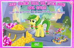 Size: 1038x682 | Tagged: safe, apple fritter, pony, advertisement, apple family member, calendar, gameloft