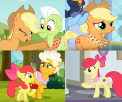 Size: 1463x1215 | Tagged: safe, edit, screencap, apple bloom, applejack, goldie delicious, granny smith, rainbow dash, earth pony, pony, going to seed, the last problem, apple, clothes, cropped, food, goldie delicious' scarf, granny smith's scarf, implied death, older, older apple bloom, older applejack