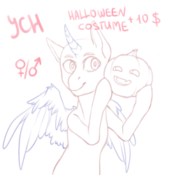 Size: 2987x3085 | Tagged: safe, artist:karamboll, alicorn, earth pony, pegasus, pony, unicorn, advertisement, auction, commission, halloween, holiday, jack-o-lantern, pumpkin, solo, your character here