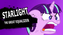 Size: 1024x564 | Tagged: angry, cross-popping veins, edit, equality, faic, meme, pony, quiet, ragelight glimmer, safe, simple background, solo, starlight glimmer, super smash bros., the cutie map, vector, vein, vein bulge, yelling