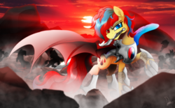 Size: 4000x2480 | Tagged: armor, artist:dormin-kanna, commission, cutie mark, heterochromia, mouth hold, oc, oc only, oc:starflame blood, pony, raised hoof, safe, solo focus, sun, sword, war, weapon