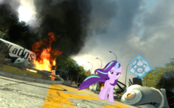 Size: 1680x1050 | Tagged: safe, starlight glimmer, pony, companion cube, cool guys don't look at explosions, explosion, portal, portal (valve), starlight glimmer in places she shouldn't be