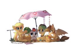 Size: 2500x1700 | Tagged: artist:freeedon, bat pony, bat pony oc, food, kite, oc, oc:adeptus monitus, oc:lightly breeze, oc:lunette, oc only, oc:salem, picnic, picnic blanket, pony, safe, scooter, simple background, sticker, tea, transparent background, umbrella, watermelon