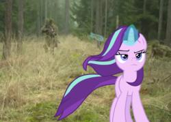 Size: 1004x719 | Tagged: badass, bullet, equestria daily featured, forest, irl, magic, photo, pony, safe, screencap, sniper, solo, starlight glimmer, unicorn