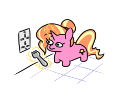 Size: 611x427 | Tagged: artist:jargon scott, callback, female, fork, here we go again, levitation, looking at something, luster dawn, lustie, magic, mare, pony, safe, science, simple background, smiling, smol, solo, spoiler:s09e26, spork, telekinesis, the last problem, too dumb to live, twiggie 2.0, unicorn, white background
