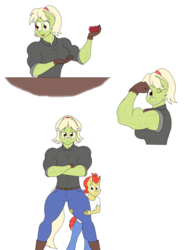 Size: 2176x2928 | Tagged: safe, artist:matchstickman, bright mac, granny smith, earth pony, anthro, plantigrade anthro, apple, biceps, boots, breasts, busty granny smith, clothes, deltoids, duo, female, flexing, food, gloves, granny smash, jeans, looking at you, male, mare, mother and son, muscles, one eye closed, pants, shirt, shoes, simple background, standing, white background, wink, young granny smith, younger
