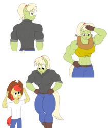 Size: 2808x3328 | Tagged: safe, artist:matchstickman, bright mac, granny smith, earth pony, anthro, plantigrade anthro, abs, armpits, back muscles, biceps, boots, breasts, bright mac's hat, busty granny smith, clothes, deltoids, duo, female, gloves, granny smash, jeans, male, mare, midriff, mother and son, muscles, pants, shirt, shoes, simple background, sweat, white background, yoke, young granny smith, younger