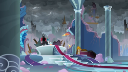 Size: 1366x766 | Tagged: safe, screencap, cozy glow, lord tirek, queen chrysalis, windigo, the ending of the end, bracer, carpet, cloud, cloudy, column, dark, dark clouds, destroyed, destroyed building, destruction, plank, planks, rubble, ruins, throne room, wind