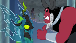 Size: 1366x768 | Tagged: safe, screencap, lord tirek, queen chrysalis, the ending of the end, angry, bracer, clenched teeth, cloud, cloudy, dark clouds, nose piercing, nose ring, piercing, stoic, thumbs up, upset