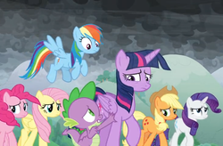 Size: 1172x768 | Tagged: safe, screencap, applejack, fluttershy, pinkie pie, rainbow dash, rarity, spike, twilight sparkle, alicorn, dragon, the ending of the end, spoiler:s09e25, cloud, cloudy, cold, dark, dark clouds, flying, mane six, sad, twilight sparkle (alicorn), windy, winged spike, worried