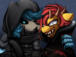 Size: 2379x1783 | Tagged: safe, artist:pridark, oc, oc only, pony, bust, clothes, commission, costume, halloween, holiday, horns, open mouth, portrait, rainbow six, tom clancy, video game crossover