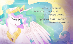 Size: 1000x600 | Tagged: safe, artist:ruushiicz, princess celestia, pony, end of ponies, eyes closed, message, signature, smiling, solo, sunlight