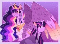Size: 1292x950 | Tagged: alicorn, artist:wanderingpegasus, blushing, chest fluff, crown, cute, cutie mark, female, fluffy, jewelry, mare, :o, older, older twilight, open mouth, peytral, pony, princess twilight 2.0, regalia, safe, smiling, smirk, spoiler:s09e26, spread wings, sunset, the last problem, twiabetes, twilight sparkle, twilight sparkle (alicorn), unicorn, unicorn twilight, wings