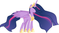 Size: 7807x4374 | Tagged: safe, artist:crystalmagic6, edit, twilight sparkle, alicorn, pony, the last problem, spoiler:s09e26, absurd resolution, crown, cutie mark, ethereal mane, female, jewelry, mare, no face, older, older twilight, princess twilight 2.0, regalia, simple background, solo, starry mane, tiara, transparent background, twilight sparkle (alicorn), updated