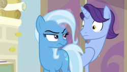 Size: 1920x1080 | Tagged: friendship student, november rain, pony, safe, screencap, scroll, spoiler:s09e11, starlight's office, student counsel, trixie