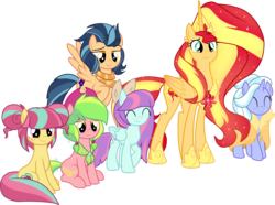Size: 2407x1789 | Tagged: safe, artist:luckyclau, indigo zap, lemon zest, sour sweet, sugarcoat, sunny flare, sunset shimmer, alicorn, pony, the last problem, alicornified, alternate mane six, digital art, equestria girls ponified, ethereal mane, female, older, older sunset, ponified, race swap, shadow five, shimmercorn
