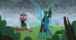 Size: 1366x724 | Tagged: safe, screencap, cozy glow, lord tirek, queen chrysalis, centaur, the ending of the end, boulder, bracer, bush, cloud, cloudy, crater, dark, dark clouds, lifting, nose piercing, nose ring, piercing, searching, tree