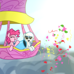 Size: 4096x4096 | Tagged: album cover, artist:wenni, cloud, confetti, duo, female, hot air balloon, oc, oc:white cloud, open mouth, party cannon, pinkie pie, pony, safe, sky, smiling, starry eyes, sun, wingding eyes