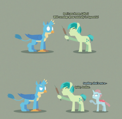 Size: 2960x2891 | Tagged: safe, artist:gd_inuk, gallus, ocellus, sandbar, changedling, changeling, earth pony, griffon, pony, 2 panel comic, blank eyes, cattails, comic, corn, corndog, dialogue, doubt, empty eyes, female, food, green background, herbivore vs carnivore, hoof hold, inktober, inktober 2019, lineless, male, no mouth, no pupils, ocellus is not amused, plant, prank, sausage, simple background, stylized, unamused
