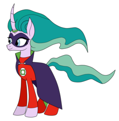Size: 3031x3067 | Tagged: alan scott, artist:eagc7, cape, clothes, commission, costume, dc comics, female, green lantern, mare, mistmane, pony, ring, safe, simple background, solo, transparent background, unicorn
