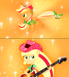 Size: 1355x1523 | Tagged: applejack, earth pony, equestria girls, ponied up, pony, ponytail, rainbow power, rainbow rocks, safe, transformation