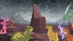 Size: 1366x768   Tagged: safe, screencap, amarant, ballista, barry, basil, billy (dragon), princess ember, prominence, rex (dragon), smolder, dragon, the ending of the end, cloud, cloudy, columnar basalt, dark clouds, dragon lands, dragon lord ember, dragoness, female, mountain, rock, speech