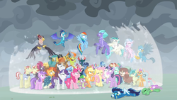 Size: 1366x768 | Tagged: safe, screencap, amethyst star, applejack, chancellor neighsay, firelight, flam, flim, fluttershy, frenulum (character), gallus, grampa gruff, lemon hearts, lyra heartstrings, moondancer, night light, ocellus, party favor, pharynx, pinkie pie, prince rutherford, princess ember, rainbow dash, rarity, sandbar, seaspray, silverstream, smolder, soarin', sparkler, spike, stellar flare, sunburst, tempest shadow, terramar, thorax, trixie, twilight sparkle, twilight velvet, yona, alicorn, changedling, changeling, classical hippogriff, dragon, earth pony, griffon, hippogriff, pegasus, pony, unicorn, yak, the ending of the end, bow, bowtie, broken horn, cape, changedling brothers, clothes, cloven hooves, colored hooves, cowboy hat, dragon lord ember, dragoness, everycreature, female, fez, flim flam brothers, flying, glasses, glowing horn, goggles, hair bow, hat, horn, jewelry, king thorax, magic fail, male, mane seven, mane six, mare, monkey swings, necklace, prince pharynx, shield, shirt, student six, teenager, twilight sparkle (alicorn), uniform, wall of tags, winged spike, wonderbolts, wonderbolts uniform