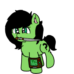 Size: 1440x1440 | Tagged: angry, artist:scotch, dagger, drool, fallout equestria, female, filly, knife, oc, oc:filly anon, pipbuck, safe, weapon
