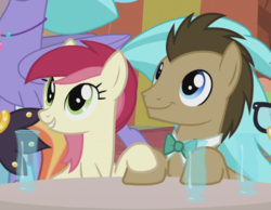 Size: 510x395 | Tagged: safe, screencap, doctor whooves, moondancer, roseluck, sassy saddles, seaspray, time turner, classical hippogriff, earth pony, hippogriff, pony, unicorn, the last problem, background characters doing background things, background pony, bowtie, cropped, cute, daaaaaaaaaaaw, doctorrose, female, holding hooves, it happened, looking up, male, mare, shipping, smiling, stallion, straight
