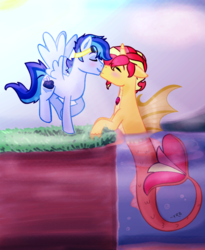 Size: 1129x1377 | Tagged: artist:xradiantblaze, eyes closed, gay, goggles, horn, interspecies, male, nuzzling, oc, oc:stormy, oc:summer, pegasus, pony, safe, shipping, siren, stallion, water