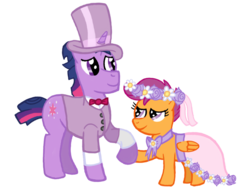Size: 2732x2048 | Tagged: a canterlot wedding, adopted offspring, artist:turnaboutart, clothes, cuffs (clothes), dress, dusk shine, father and daughter, female, floral head wreath, flower, flower filly, flower girl, flower girl dress, flower in hair, hat, holding hooves, male, pegasus, pony, rule 63, safe, scootaloo, simple background, stallion, suit, top hat, transparent background, tuxedo, twilight sparkle, unicorn, unicorn twilight, wedding