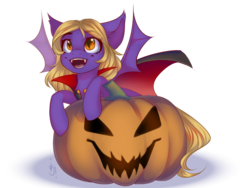 Size: 1600x1200 | Tagged: artist:falafeljake, bat pony, bat pony oc, cape, clothes, costume, cute, ear fluff, ear tufts, female, filly, halloween, halloween costume, happy, holiday, jack-o-lantern, leaning, looking up, monster mare, oc, ocbetes, oc only, open mouth, pony, pumpkin, safe, simple background, slit eyes, smiling, solo, spread wings, transparent background, wings