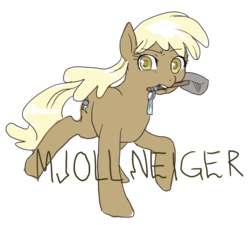 Size: 850x766 | Tagged: 2012, artist needed, earth pony, female, hammer, mare, mjölna, mouth hold, ponibooru, pony, pun, safe, text