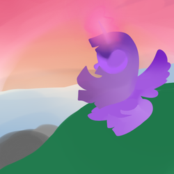 Size: 500x500 | Tagged: alicorn, artist:wisheslotus, female, glowing horn, hill, horn, mare, pony, safe, solo, twilight (astronomy), twilight sparkle, twilight sparkle (alicorn)