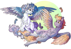Size: 4247x2937 | Tagged: safe, artist:sourcherry, oc, oc only, hengstwolf, pony, werewolf, claws, curly hair, curly mane, feather, fluffy, flying, simple background, wings