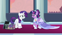 Size: 1920x1080 | Tagged: safe, artist:cyan-six, edit, edited screencap, screencap, rarity, twilight sparkle, alicorn, pony, unicorn, the last problem, female, looking at each other, rarilight, twilight sparkle (alicorn)